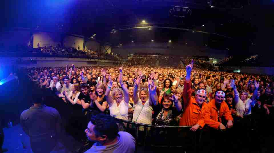 TSB Arena concert large crowd with security